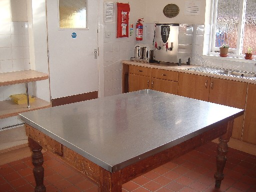Kitchen, table in Braunton Parish Hall kitchen